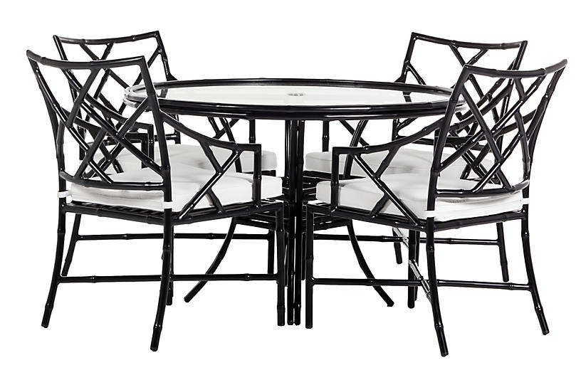 Kit 5-pc Dining Set, Black/White