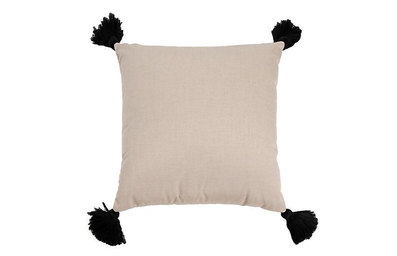 Kit Outdoor Pillow, Pebble/Black