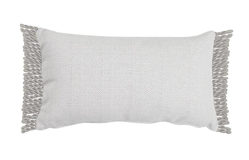 Siena 14x24 Lumbar Outdoor Pillow, Pewter/White