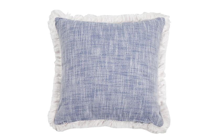 Emilia Outdoor Pillow, Indigo/White