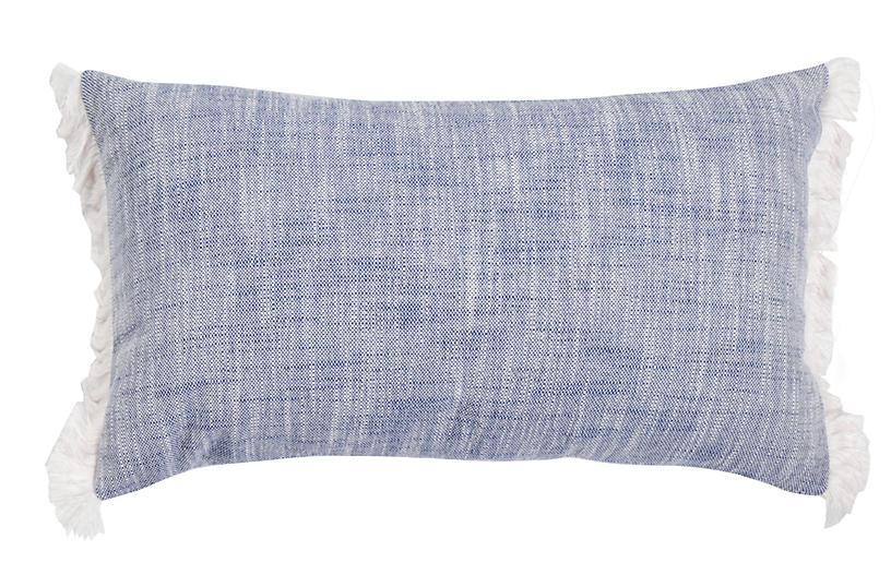 Emilia 14x24 Lumbar Outdoor Pillow, Indigo/White