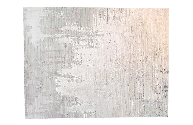 9'x12' Velvet Rug, Silver