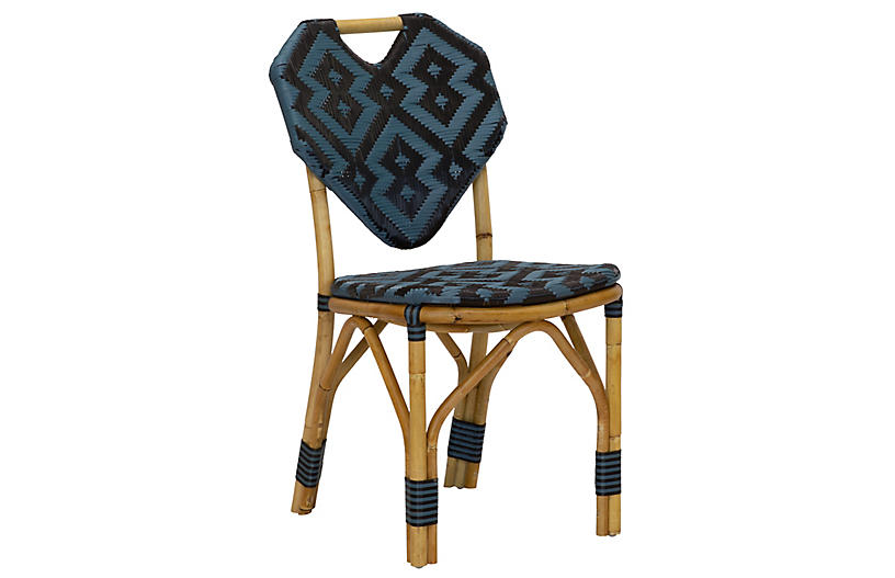 Orkney Rattan Outdoor Side Chair, Black/Blue
