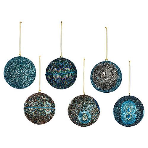S/6 Ball Ball Ornaments, Aqua