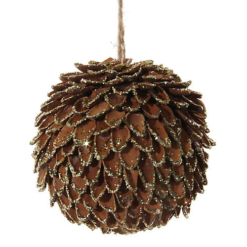 Pine Nut Shell Ball Ornament, Gold/Brown