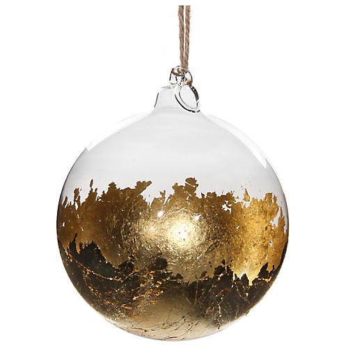 Leaf Ball Ornament, Gold/Clear
