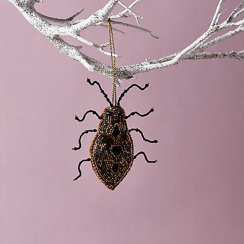 Beaded Bug Ornament, Gold/Black