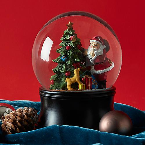 "6"" Santa & Tree Snow Globe, Black/Multi"