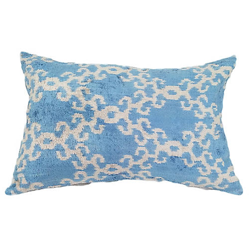 Anne 16x24 Lumbar Pillow, Sky Blue/Ivory