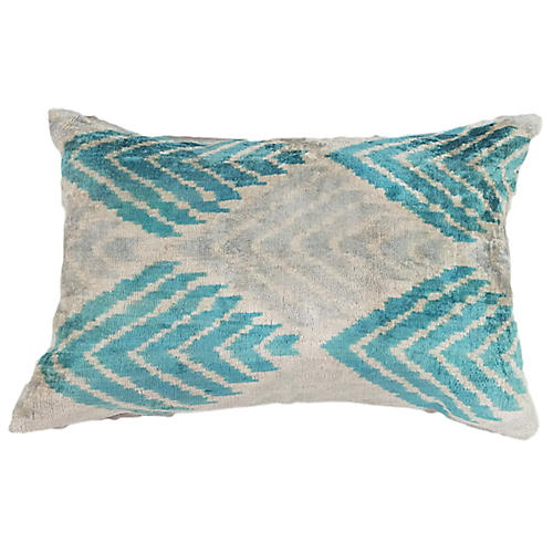 Luara 16x24 Lumbar Pillow, Teal/Gray