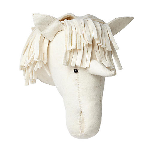 Unicorn Wall-Mounted Plush Toy, Cream/White