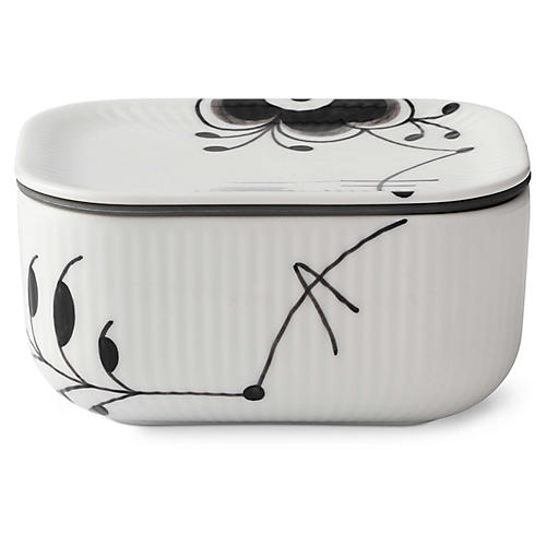 Mega Butter Dish w/Lid, White/Black