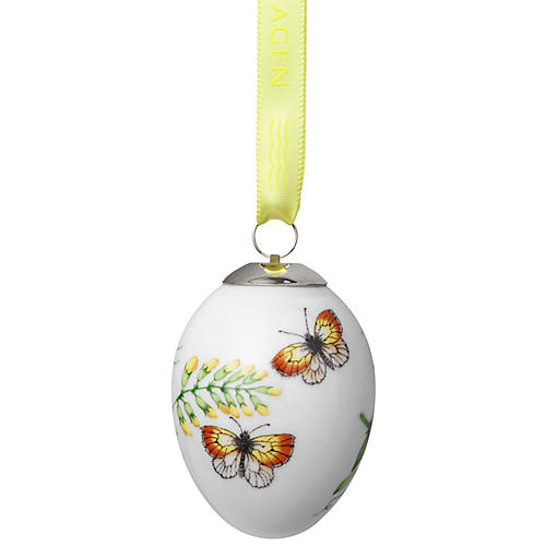 Yellow Butterfly Easter Ornament, White/Multi