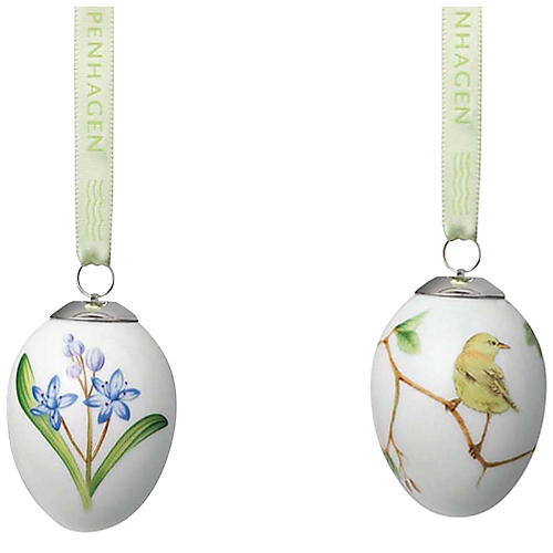 Scilla & Warbler Easter Egg Ornaments, White/Multi