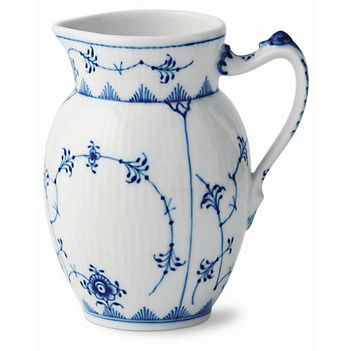 Fluted Pitcher, White/Blue