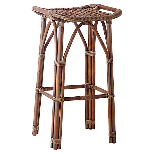 Salsa Rattan Barstool, Antique
