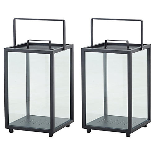 S/2 Lighthouse Rectangular Lanterns, Lava Gray