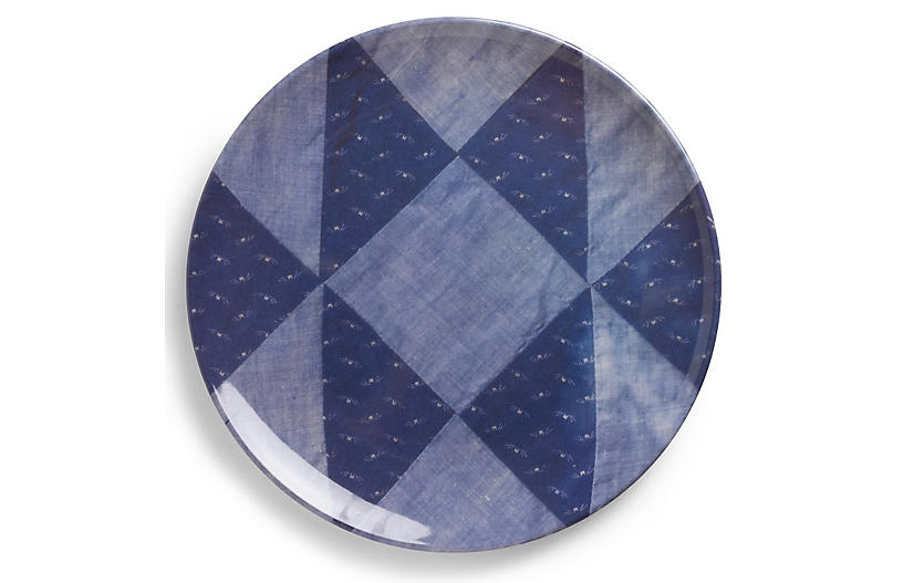 S/4 Nebraska Dinner Plates, Blue/Multi