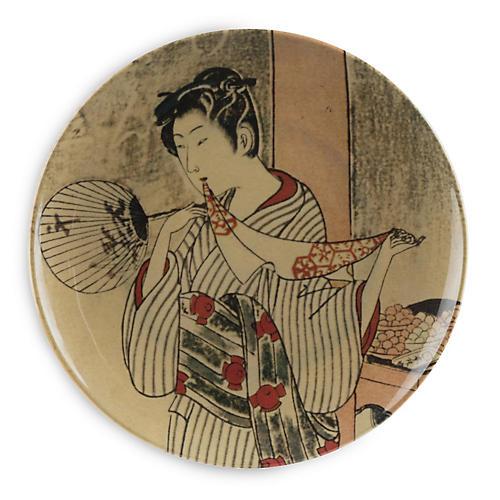 S/4 Kyoto Style B Dinner Plates, Beige/Multi