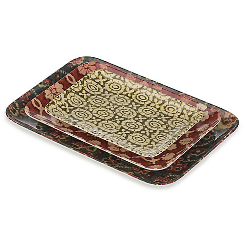 S/3 Ex-Libris Tray Set, Red/Multi