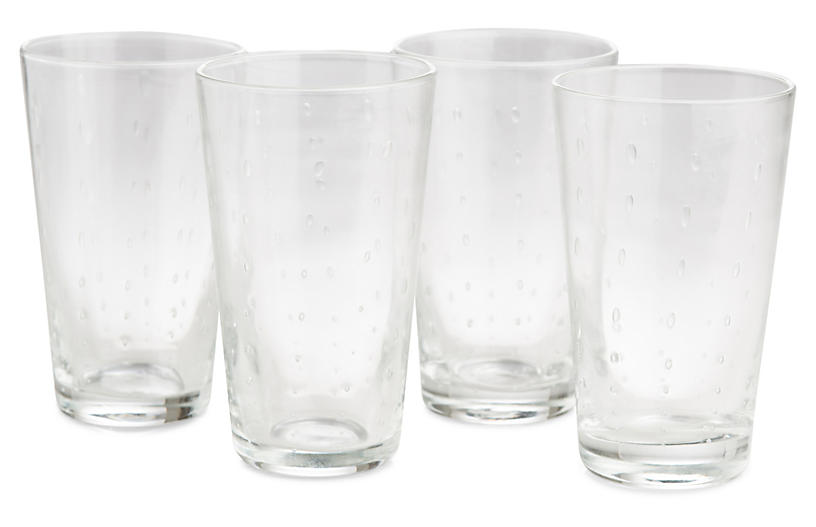 S/4 Droplet Highball Glasses, Clear