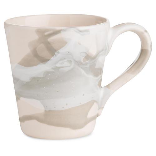 S/4 Bullard Coffee Mugs, Gray/White