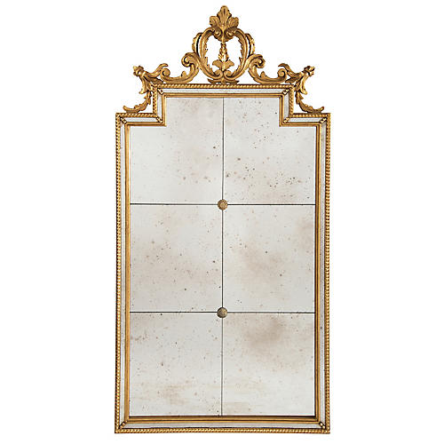 "Six-Panel 22""x44"" Wall Mirror, Gold"