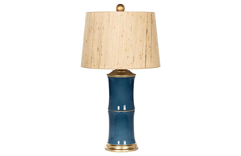 Bamboo-Style Table Lamp, Blue/Natural