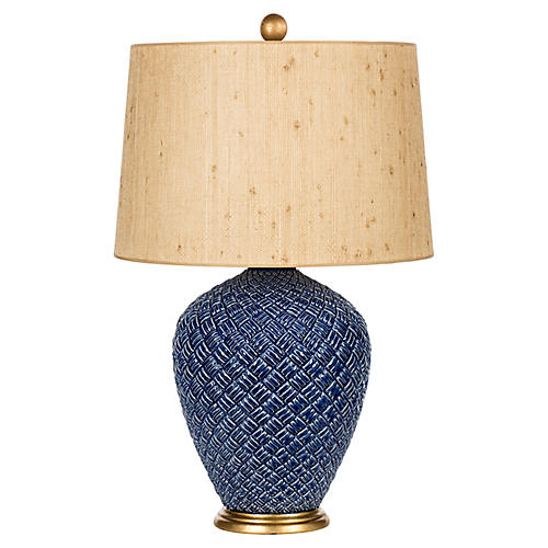 Basketweave Table Lamp, Blue/Natural