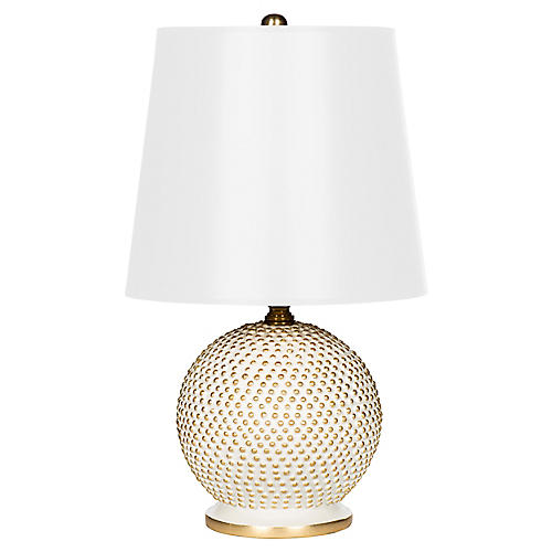 Mini Ball Table Lamp, White/Gold