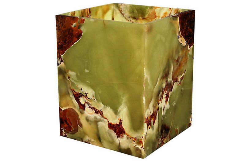 Myrtus Wastebasket, Whirl Green Onyx