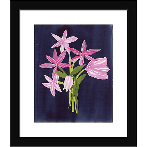 Denise Fiedler, Pink Flowers on Indigo