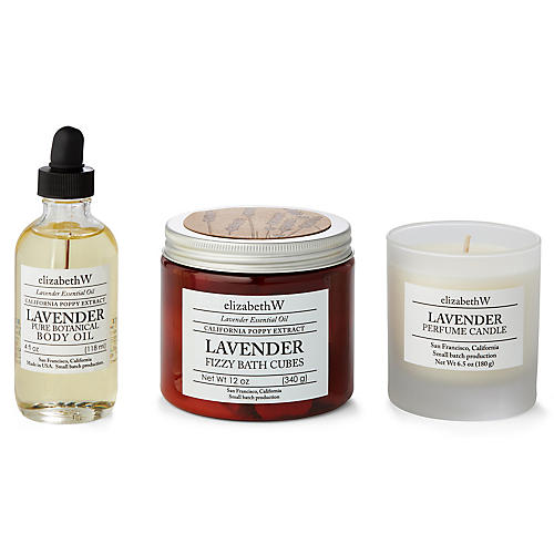 Lavender Bath Set, Natural/Purple