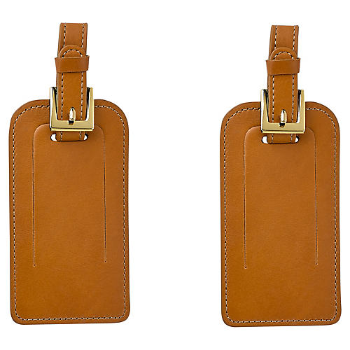 S/2 Jet Set Luggage Tags, British Tan