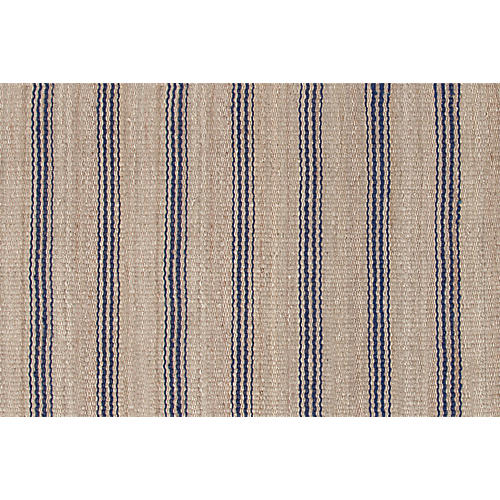 Ticking Jute Rug, Indigo/Natural