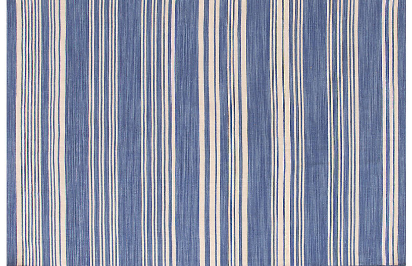 Cottage Stripe Handwoven Rug, French Blue