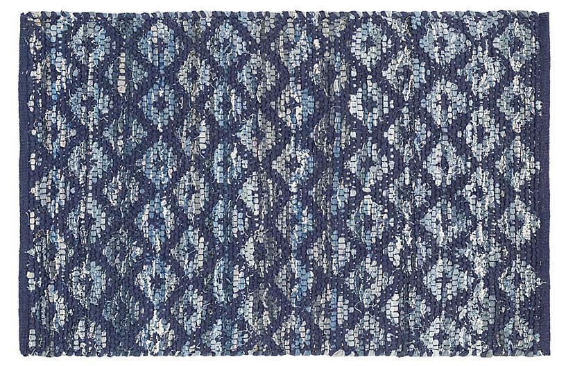 Rag Diamond Woven Indigo Cotton Rug, Denim