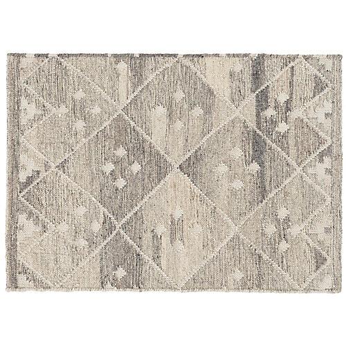 Kota Flat-Weave Rug, Natural/Silver