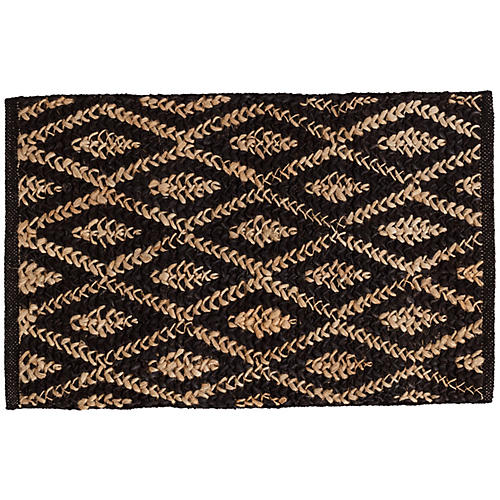Diamond Jute Rug, Black/Natural