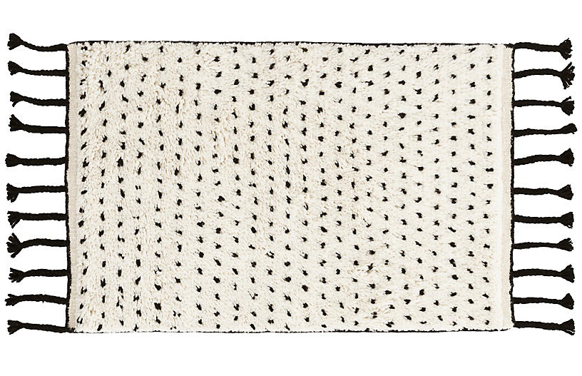 Speck Hand-Knotted Rug, Black/Natural