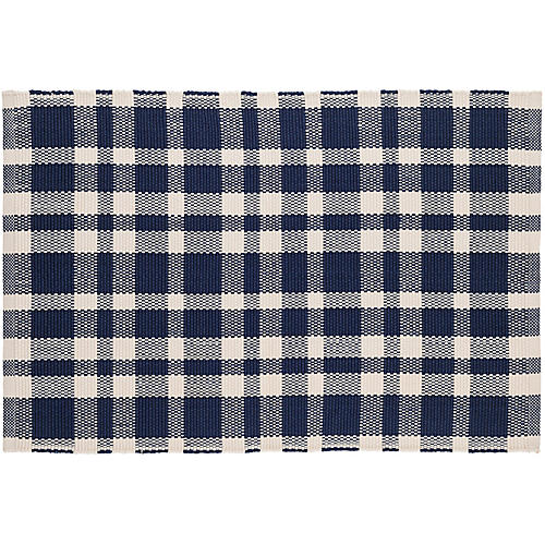 Tattersall Indoor/Outdoor Rug, Indigo/White