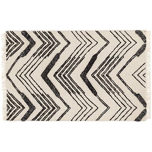 Tasha Handwoven Rug, Ivory/Black