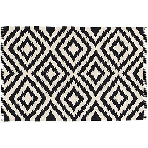 Clover Handwoven Rug, Black
