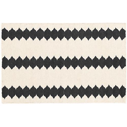 Senna Handwoven Rug, Ivory/Black