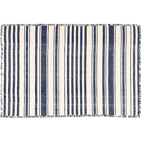 Hampshire Stripe Handwoven Rug, Navy