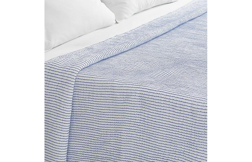 Santo Stripe Coverlet, Blue