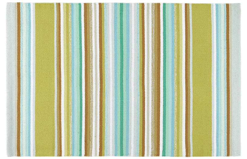 Serape Woven Cotton Rug, Green