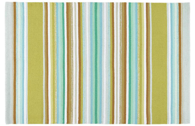 Serape Woven Cotton Rug, Green