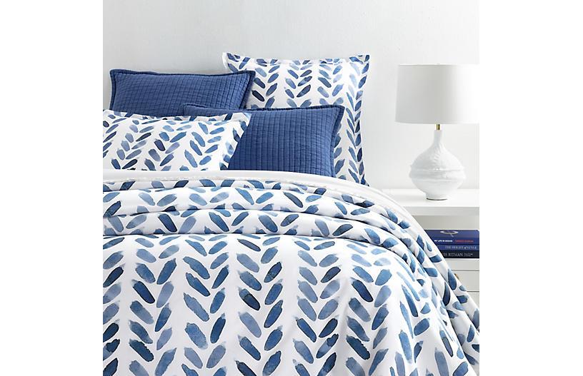 Blue Brush Duvet Cover, Blue