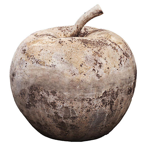 "14"" Rustic Apple Statue, Antiqued Terracotta"